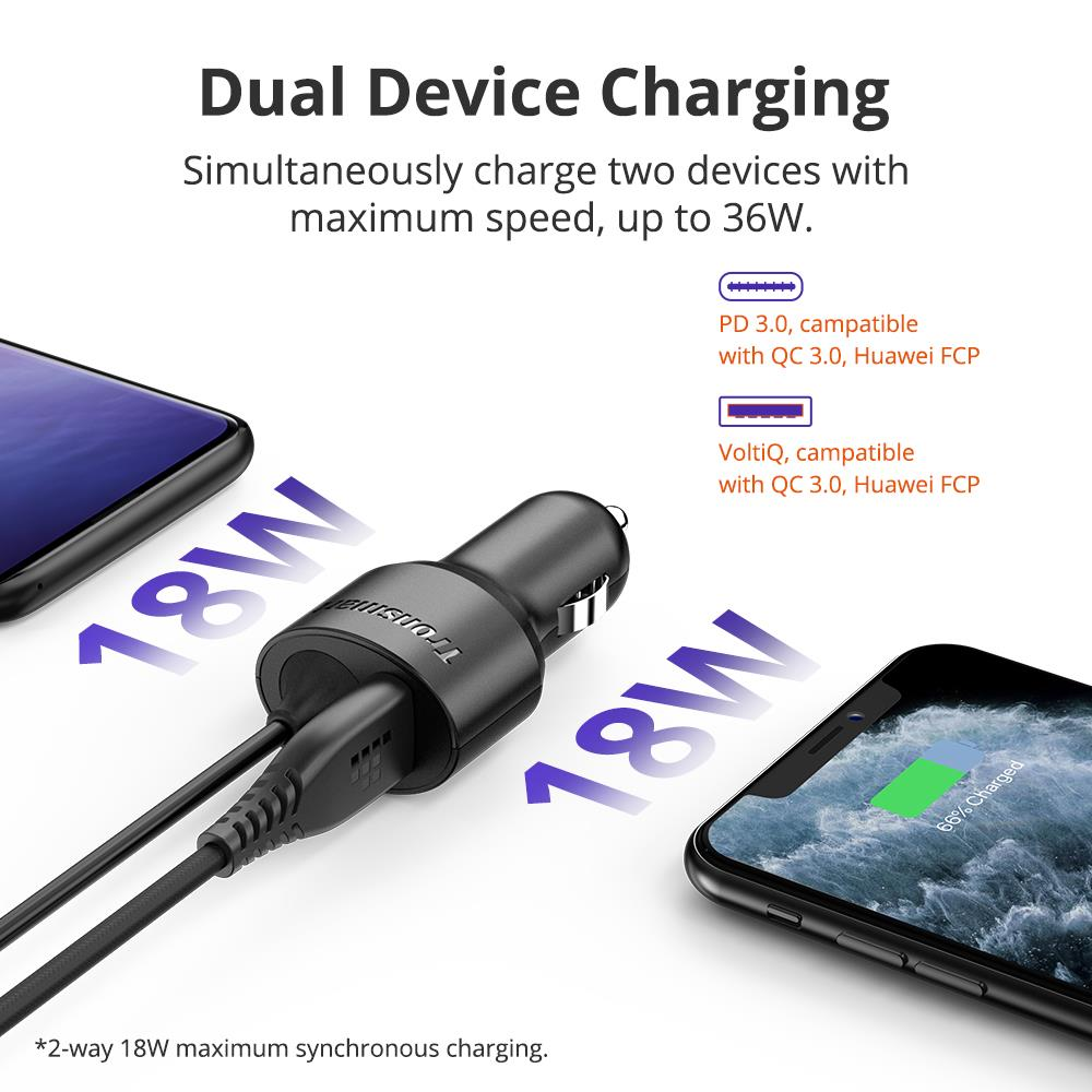 Tronsmart CCTA Car Charger 36W PD Charger Quick Charge with USB C Cable Support PD3.0, QC3.0, FCP, Apple 2.4 for iPhone,Huawei (3)