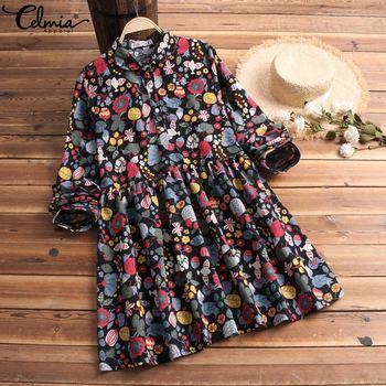 S-5XL Celmia Bohemian Floral Print Dress Women Vintage Mini Dresses 2019 Fashion Long Sleeve Pleated Shirt Vestidos Plus Size 3