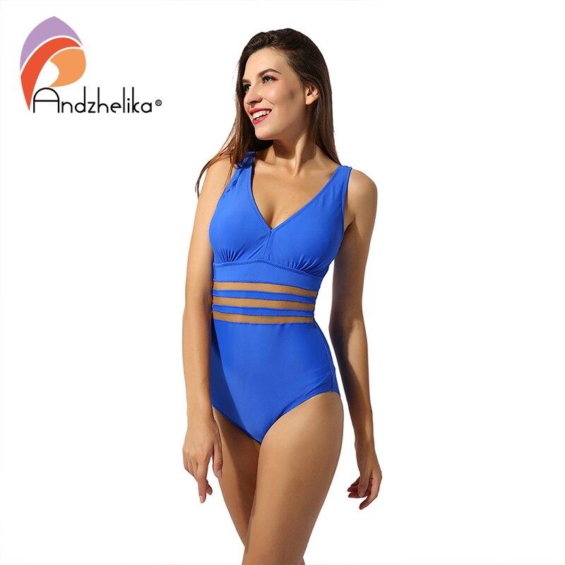 Andzhelika Plus Size Swimwear Women One Piece Swimsuit Sexy Solid Mesh Vintage Retro Bathing Suits Beach Wear Swim Monokini Body Suits    - AliExpress