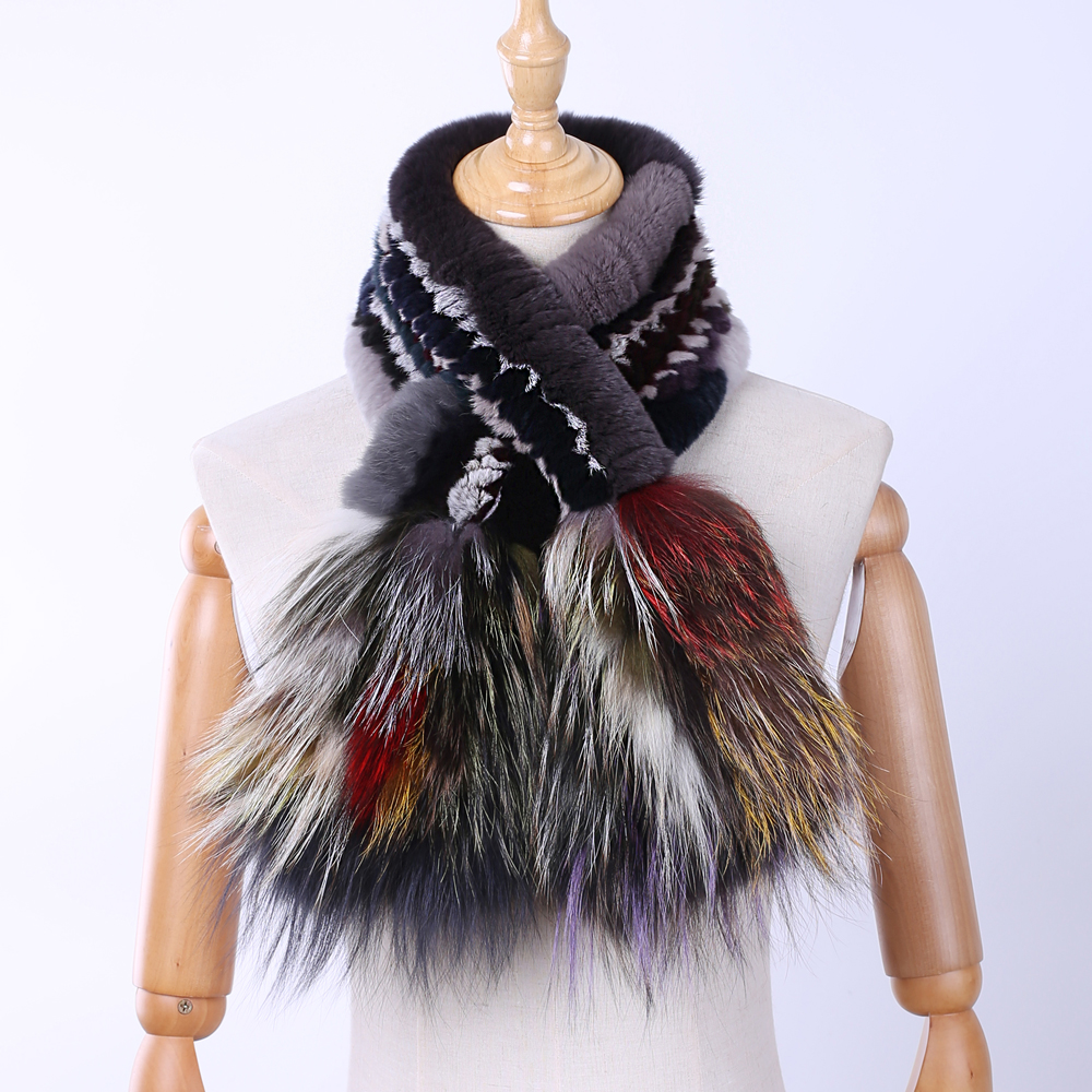 Brand New 2019 Genuine Real Rex Rabbit Fur Women's Fashion Fur Scarf Scarves Silver Fox Fur Knitted Wraps Multicolor Winter Warm
