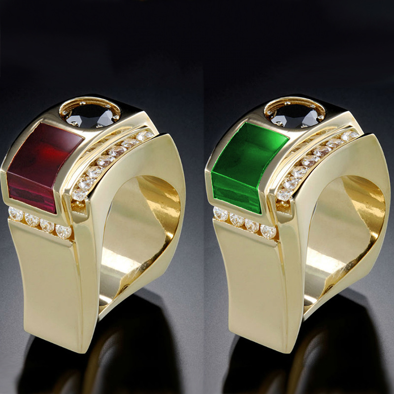 Luxury 14k Yellow Gold Color Geometric Gemstone Rings for Women Unique Design Epoxy Wedding Engagement Rings Jewelry Gift