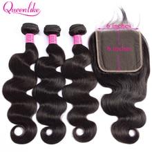 Queenlike волосы, 3 пряди, бразильские волнистые волосы, 6x6, большие, на шнуровке, двойная пряди, не Реми, человеческие волосы, пряди с застежкой