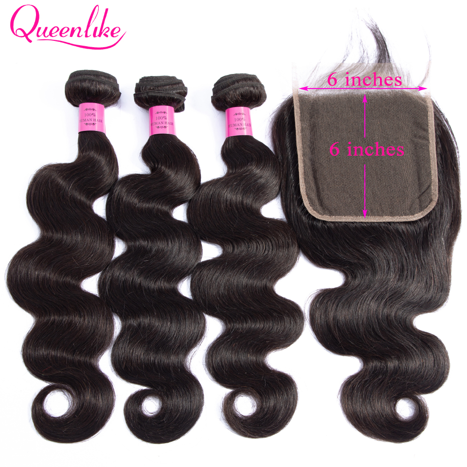Queenlike Hair 3 Bundles Brazilian Body Wave With 6x6 Big Lace Closure Double Weft Non-Remy Human Hair Bundles With Closure