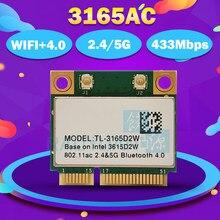 Para intel banda dupla sem fio TL-3165D2W 3165ac metade mini pci-e bt4.0 802.11ac 2.4g & 5g cartão sem fio