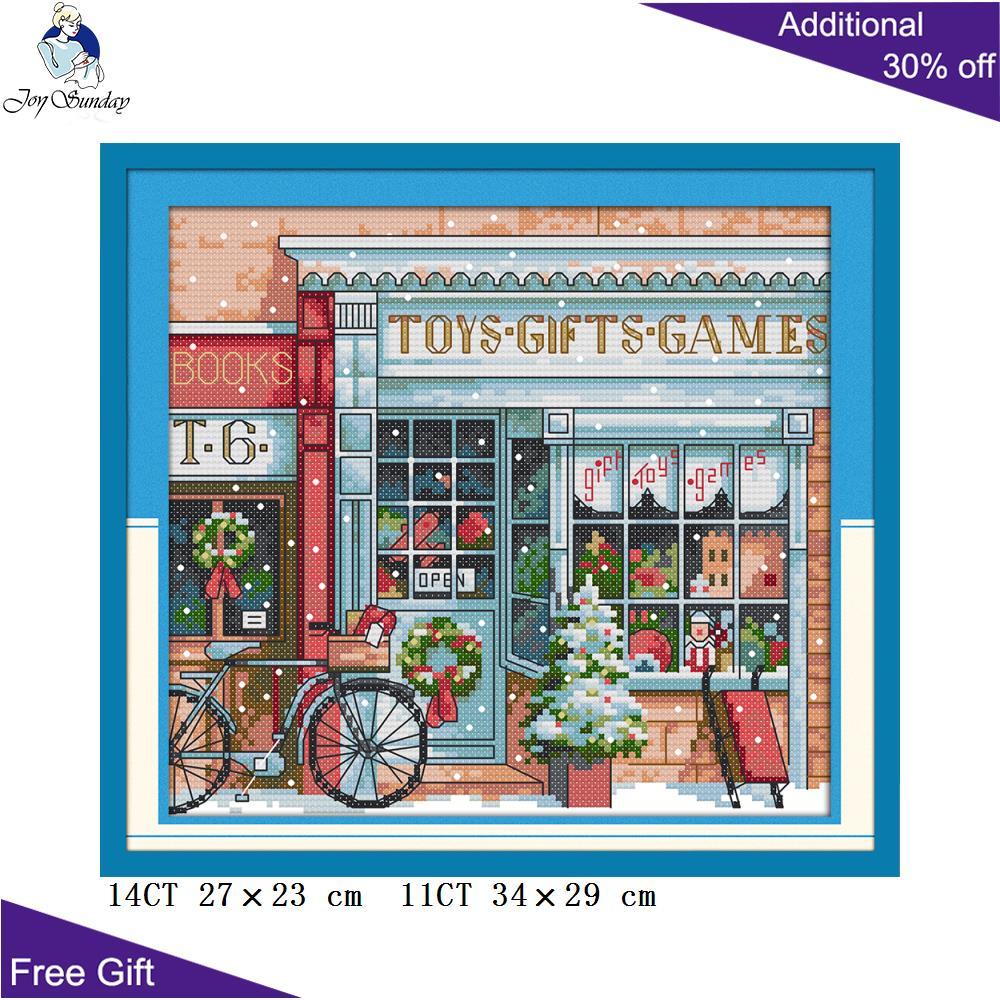 Joy Sunday Gift Toy Shop Needlework C577 Home Decor Counted And Stamped Gift Toy Shop Needlework Christmas Cross Stitch Kits