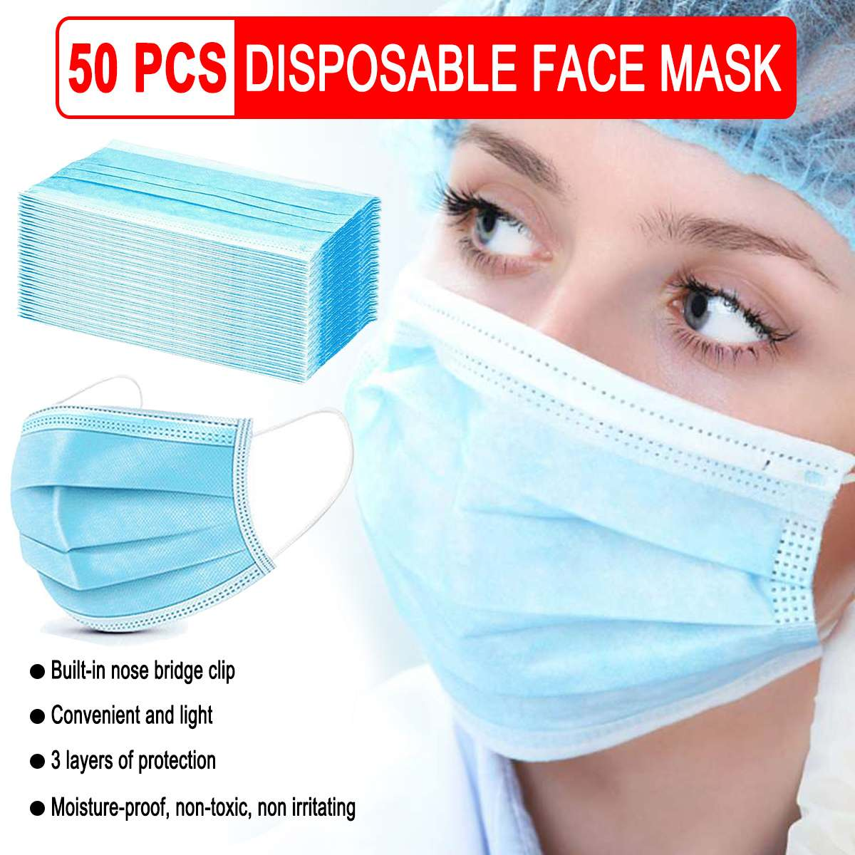 50pcs Disposable Mask Mouth Face Safety Protective Mask Filtraion Cotton Mouth Mask Anti-Dust 3-layer Filtration Against Droplet