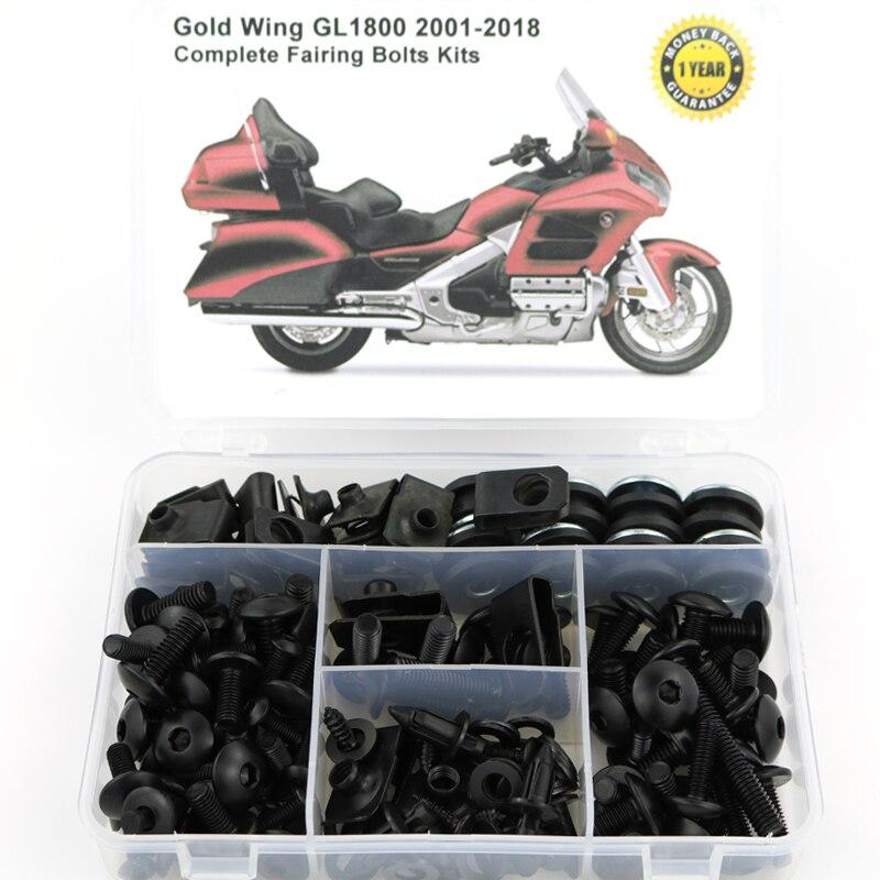 Для HONDA GL1800 GOLDWING 2001- полный обтекатель Болты Комплект скоростные гайки мотоциклетные Боковое покрытие винты OEM стиль стали - Цвет: Black