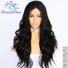 BeautyTown Black Color Water Wave Futura Heat Resistant Hair Women Wedding Party Hair Daily Makeup Synthetic Lace Front Wigs