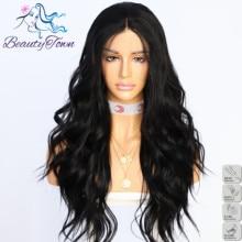 BeautyTown שחור צבע מים גל Futura חום עמיד שיער נשים חתונה מסיבת שיער יומי איפור סינטטי תחרה מול פאות