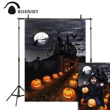 Allenjoy Halloween backdrop Castle Witch pumpkin lamps Path Night Moon photography background backgrounds for kids
