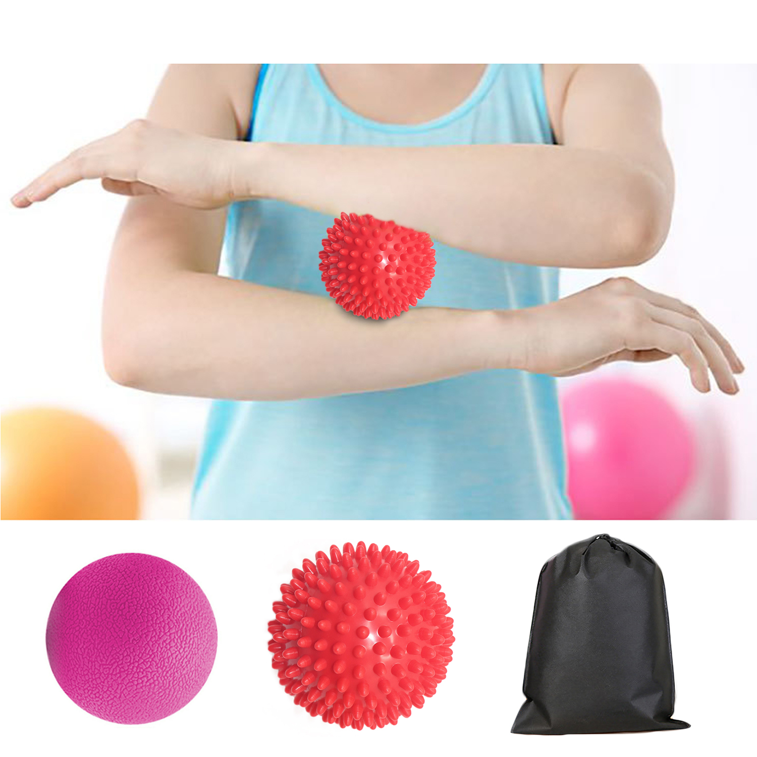1Pcs Massage Ball + 1 Pcs Spike Roller Ball Massager With Storage Bag For Muscle Knots Myofascial Release Trigger Point Therapy
