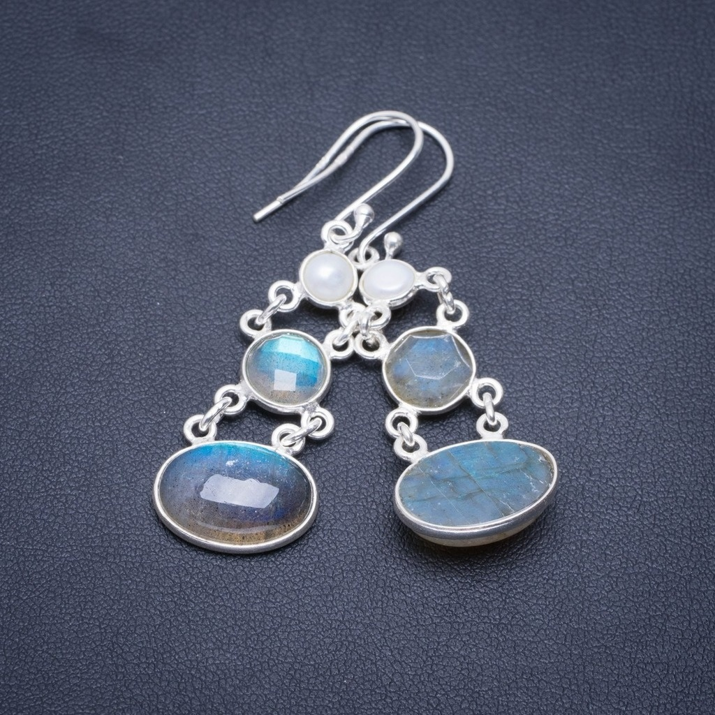 Natural Labradorite and River Pearl Handmade Unique 925 Sterling Silver Earrings 2