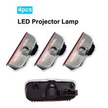 4 шт. эмблема светодиодные лампы Luces двери автомобиля светильник светодиодный проектор для VW TOUAREG для Golf 5 6 7 MK5 MK6 MK7 Passat B6 B7 Tiguan CC транспортного...