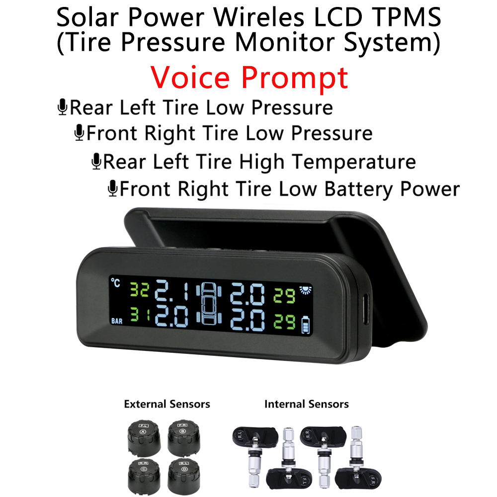 Solar Power Tyre Pressure Monitor System TPMS With USB Charging And LCD Display Voice Anouncment High Temperature Air Leak Alarm