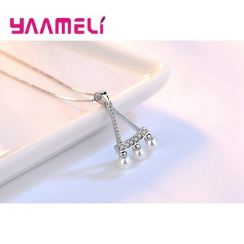 Women Fine 925 Sterling Silver Crystal Pearl Pendant Necklaces for Wedding Engagement Anniversary Gifts Fashion Accessory 1