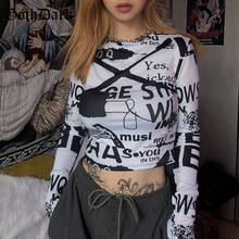 Goth Dark Grunge Punk Gothic Women T-shirts Harajuku Letter Print Autumn 2019 Long Sleeve Female Tshirt Fashion