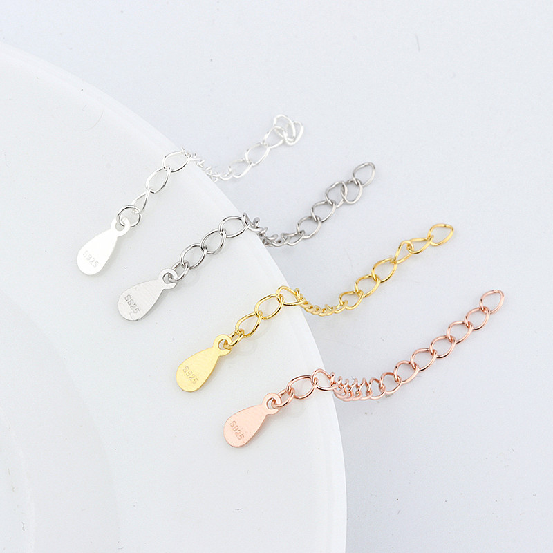 2pcs 925 Sterling Silver Necklace Chain Extender Finding Jewelry Accessories