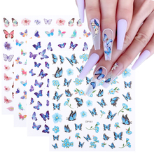 Butterfly Nails Stickers Tips Decoration Sliders Charming Flowers Nail-Art-Manicure Rose