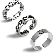 Retro Ancient Silver Happy Smiley Lady Open Punk Hip Hop Adjustable Ring FashionJewelry European And American Wedding Ring