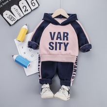 Baby Kid Girl Boy Hooded Warm Clothes Set for Toddler Letter Kids Suit Plus Velvet Thickening Autumn Spring Children Outfit