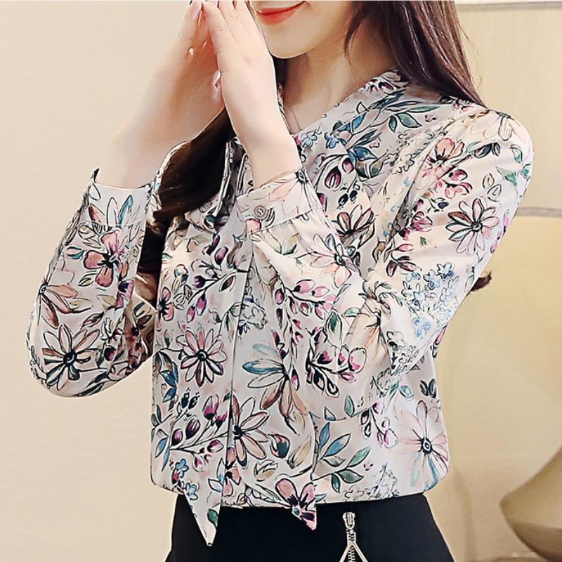 fashion womens tops and blouses 2020 new print chiffon blouse shirt bow V collar office blouse long sleeve women shirts 2432 50 2