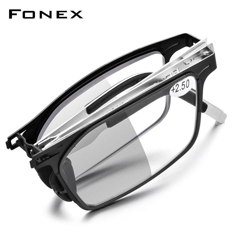 Фотохромные серые антиблокирующие складные очки для чтения FONEX для мужчин и женщин, 2021, очки для чтения при дальнозоркости без винтов LH015