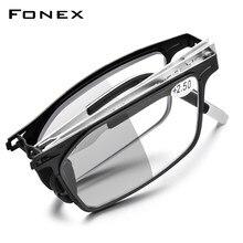 FONEX-gafas de lectura plegables fotocromáticas para hombres y mujeres, anteojos fotocromáticos de lectura sin tornillo, con lector de hipermetropía 2021, color gris, antibloqueo azul, LH015