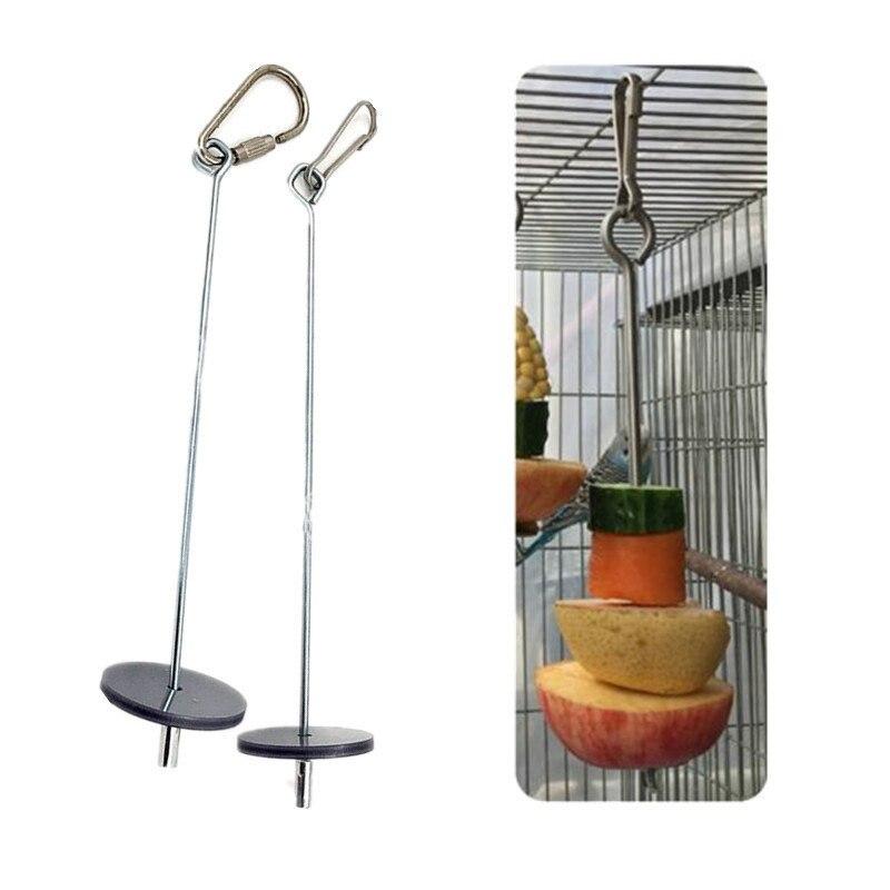 1Pcs Pet Parrots Birds Food Holder Support Stainless Steel Fruit Spear Stick Meat Fruit Vegetable Skewer Fruit Fork Hook