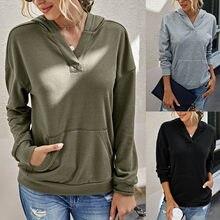 Sweatshirts com capuz feminino 2020 outono winte o-neck cor sólida pulôver bolso mangas compridas moletom oversized moda topos #40