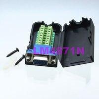 DHL/EMS 20 VIELE DB15 DSUB VGA jack 3 + 9pin Terminal Breakout PCB Stecker ABDECKUNG HAUBE mutter schwarz  d2-in Batteriezubehörteile und Ladezubehör aus Verbraucherelektronik bei
