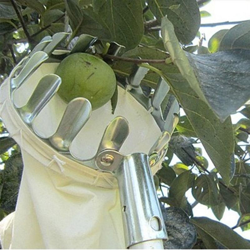 VKTECH Metal Fruit Picker Orchard Gardening Apple Peach High Tree Picking Tool Fruit Catcher Collection Pouch Farm Garden Tools