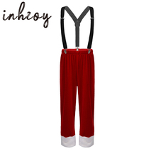 Long-Pants Xmas Costume Dress-Up Elf Cosplay Christmas Kids Boys with Braces-Straps Children