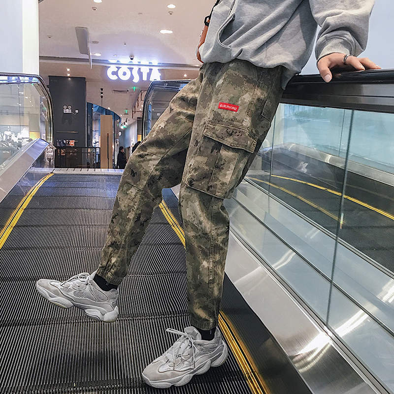 Spring New Style Men's Camouflage Bib Overall Trend Versatile Loose Casual Pants Korean-style Teenager Men Capri Pants