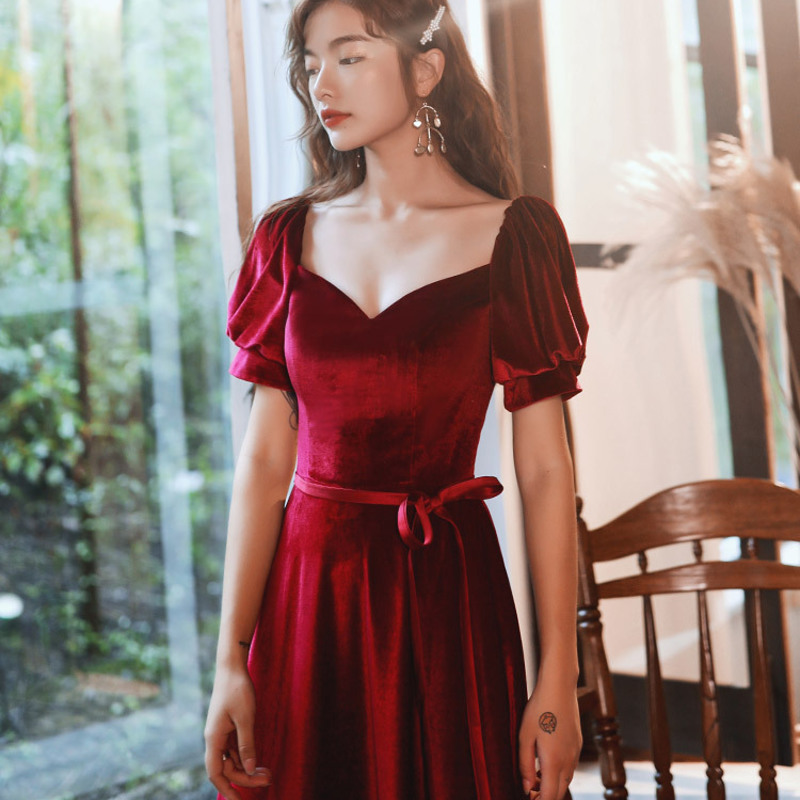 2019 Dress Celebrity Toast Wine One Word Shoulder Hubble-bubble Sleeve Dress 2020 Fall Back On Small Velvet Engagement To Marry