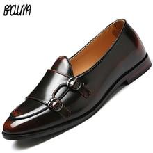 Мужские Роскошные модные мокасины; свадебные деловые кожаные туфли; Мужская официальная обувь; дышащие слипоны с металлической пуговицей; Мужская итальянская обувь