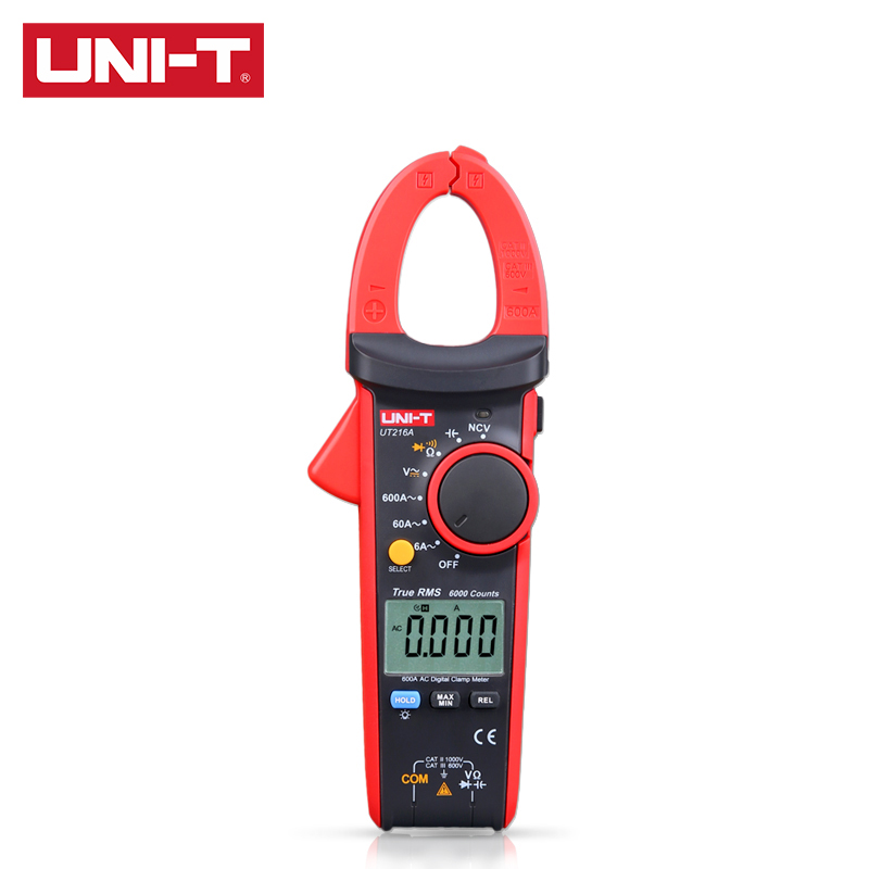 UNI-T UT216 Series True RMS Digital Clamp Meter UT216A UT216B UT216C UT216D 600A MAX MIN Relative Modes NCV Flashlight  VFC