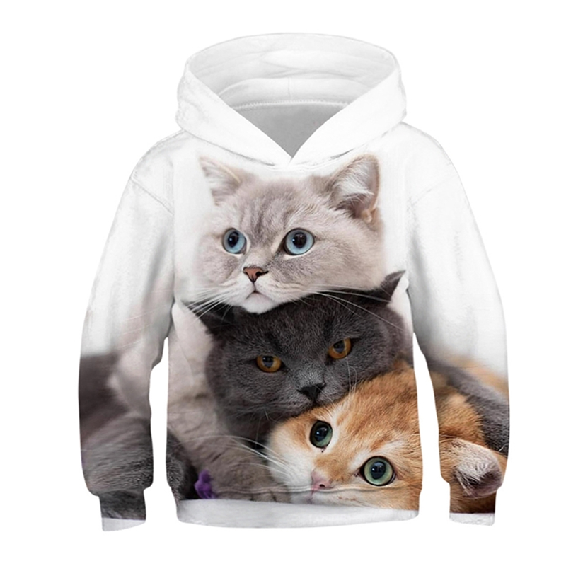 3D Print Cat Hoodies Kids Teens Long Sleeve Sweatshirts 3D Toddler Baby Boy Clothes Autumn Family Pullover Sweater Coat Tops 1