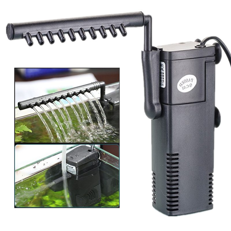 220V Silent Internal Aquarium Filter Pump 3 In 1 Submersible Turtle Fish Tank Pump Filter Oxygen Water Circulation Sponge Filter
