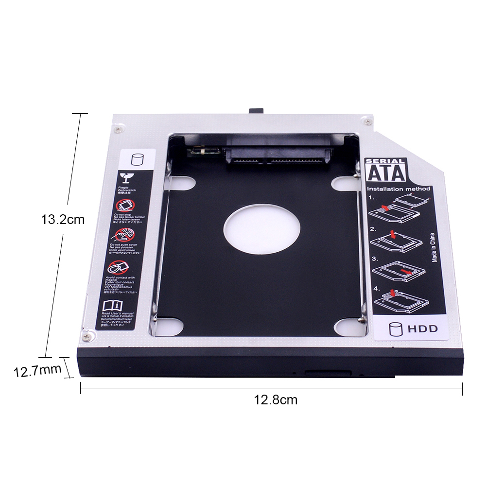 2nd HDD Caddy 12.7mm SATA 3.0 for 2.5'' SSD <font><b>Case</b></font> HDD Enclosure for <font><b>Lenovo</b></font> ThinkPad T420 <font><b>T430</b></font> T520 T530 image