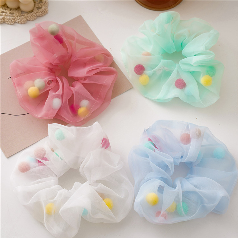 Korea Style Fairy Rubber Band Yarn Colorful Plush Ball Hair Ring Hair Rope Ponytail Holder Elastic Hair Bands Hair Accessories