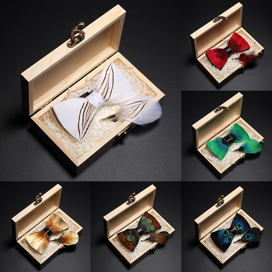 GUSLESON Original New Design Natural Feather Bow Tie Exquisite Hand Made Mens BowTie Brooch Pin Wooden Gift Box Set For Wedding