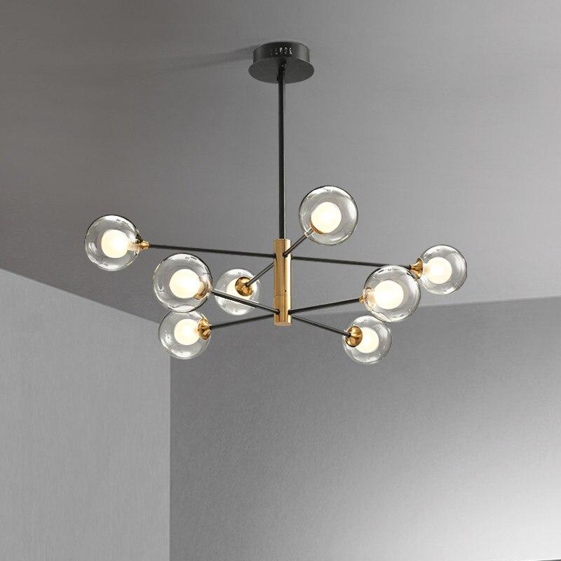 Modern designer LED G9 glass ball chandelier 6 lamps 8 lamps Nordic restaurant living room lighting