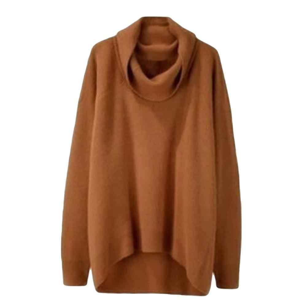 여성용 대형 스웨터 겨울 불규칙한 니트 풀오버 코트 긴 소매 터틀넥 점퍼 레이디 루스 탑스 섹시한 니트웨어 #1