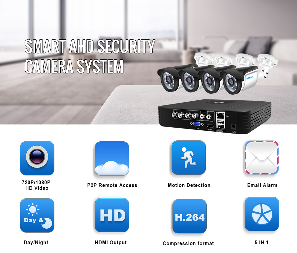 Smar 4CH 1080N 5 in 1 AHD DVR Kit CCTV System 4&2PCS 720P1080P IR AHD Camera Outdoor Waterproof Security Surveillance Set XMeye (1)