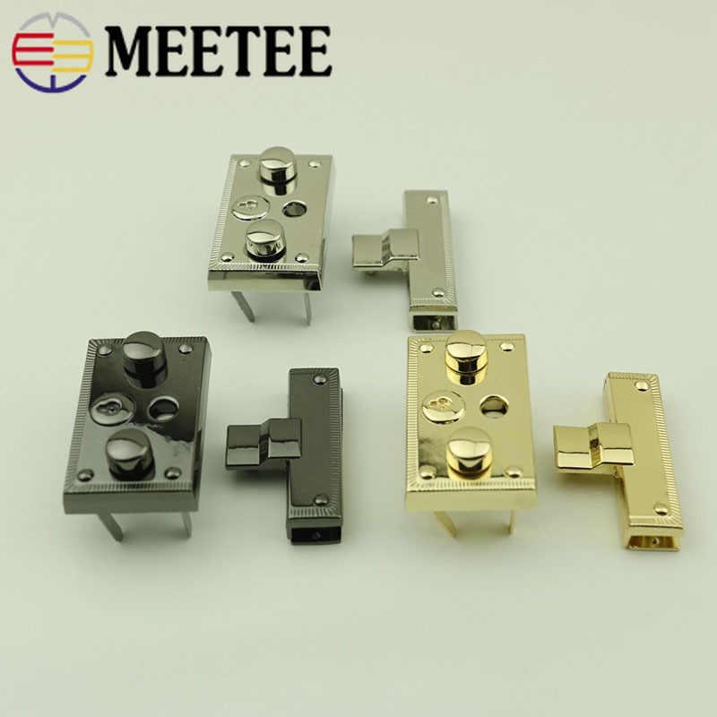 2 piezas bolsa de Metal Meetee cierre a presión bolso cierre hebilla DIY monedero giro bloqueo bolsas accesorios hebillas de repuesto