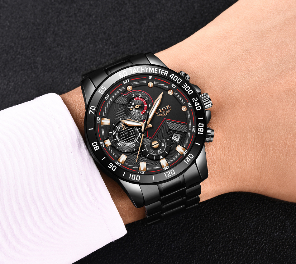 H9144ad3209b04daaaa547c3b8ea523d7s Relogio Masculino LIGE Chronograph Mens Watches Stainless Steel Waterproof Date Quartz Watch Men Business Classic Male Clock+box
