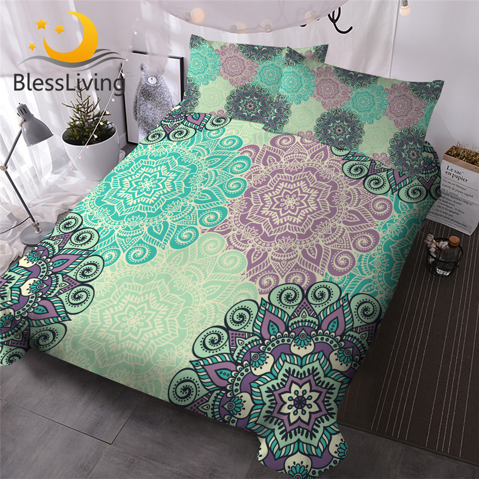 BlessLiving Mandala Bedding Set Bohemian Flower Bed Cover Green Turquoise Retro Home Textiles Colorful BohoFloral Bedspreads