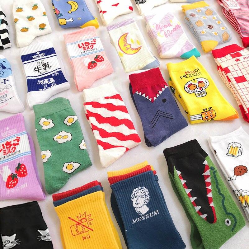 Creative High Quality Fashion Harajuku Kawaii Happy Socks Women Milk Food Painting Strawberry Animal Print Funny Socks Cute Sock