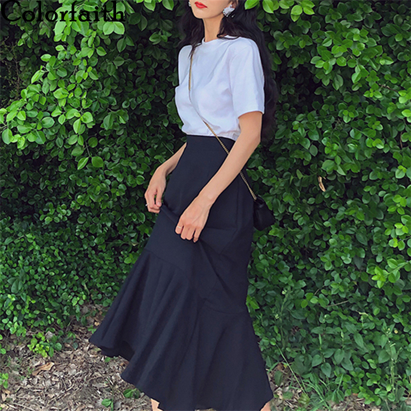 Colorfaith New 2020 Spring Summer Women Skirts High Elastic Waist Vintage Elegant Trumpet Female Fashionable Midi  Skirt SK1621