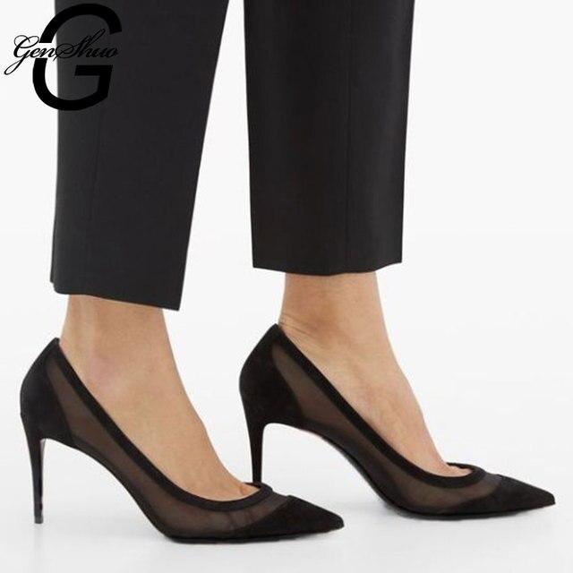 GENSHUO Sexy Mesh High Heels 3